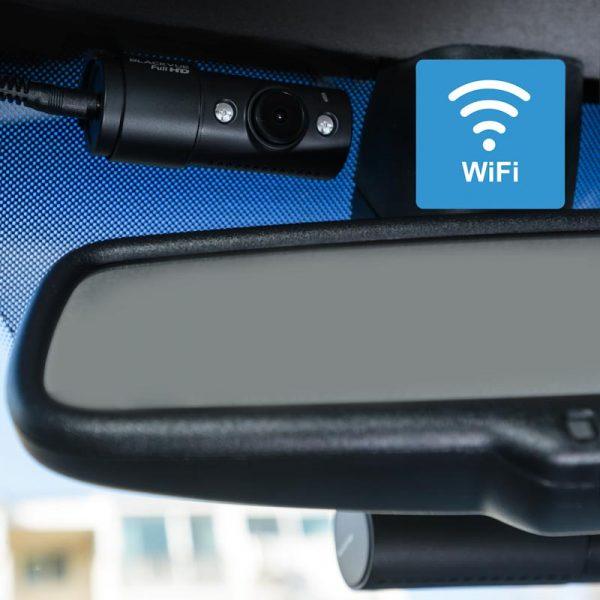 BlackVue DR590x-2ch-IR-taxi-dashcam spiegel